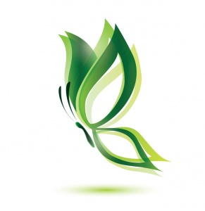 green butterfly, ecology concept, isolated vector symbol